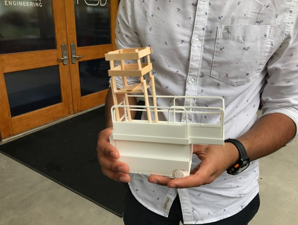 ": To get to the final prototype, the students developed multiple versions of their ""mini scissor lift,"" including this general design concept visualization."
