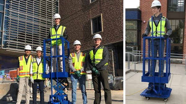 "The students showcased their final prototype in December. The ""mini-lift on a scissor lift"" provides an additional four feet of vertical working height."