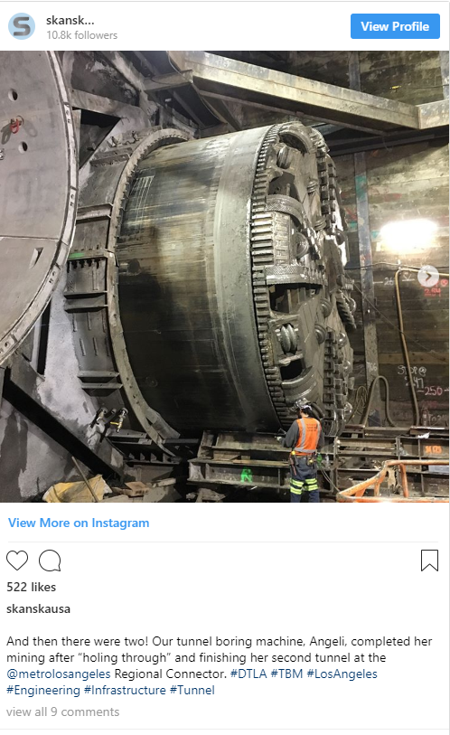 Tunnel boring machine Angeli at our Regional Connector project in Los Angeles—524 likes