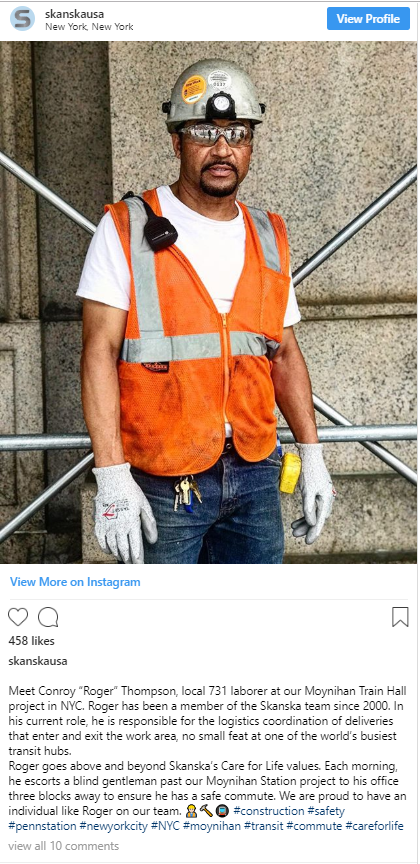"Conroy ""Roger"" Thompson, a local 731 laborer, who escorts a blind gentleman past our Moynihan Train Hall project every day—456 likes"