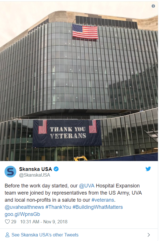 University of Virginia Health System, University Hospital Expansion team members recognize veterans—29 likes