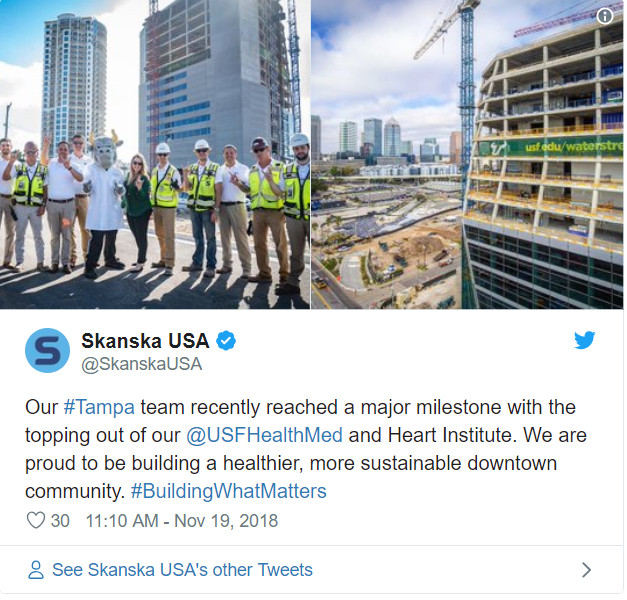 University of South Florida Health, Morsani College of Medicine and Heart Institute tops out—30 likes