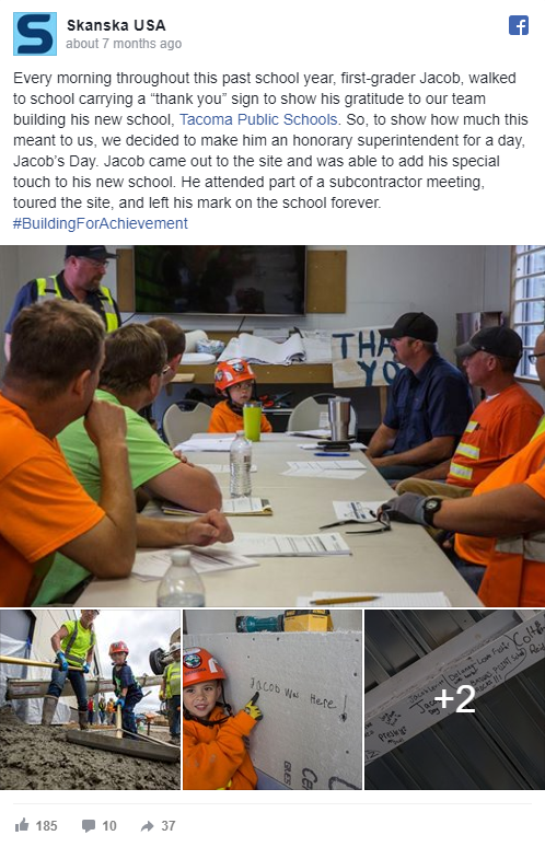 Our team makes Jacob an honorary superintendent at our Tacoma Public Schools, Browns Point Elementary project to show our gratefulness for his 'Thank You' sign—345 reactions, comments and shares