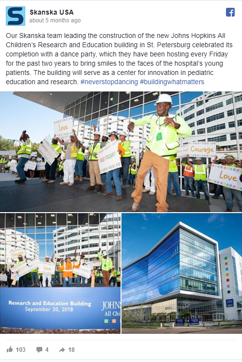 Johns Hopkins All Children's Hospital, Research and Education Building dance party—221 reactions, comments and shares