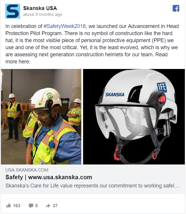 Safety Week launch: advancement in Head Protection Pilot Program—278 reactions, comments and shares