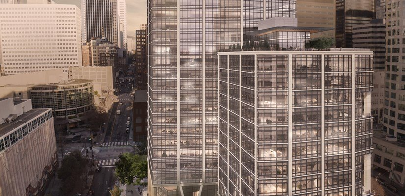 Rendering of 2+U, a lifted, 38-story office tower in the heart of Seattle's urban core.