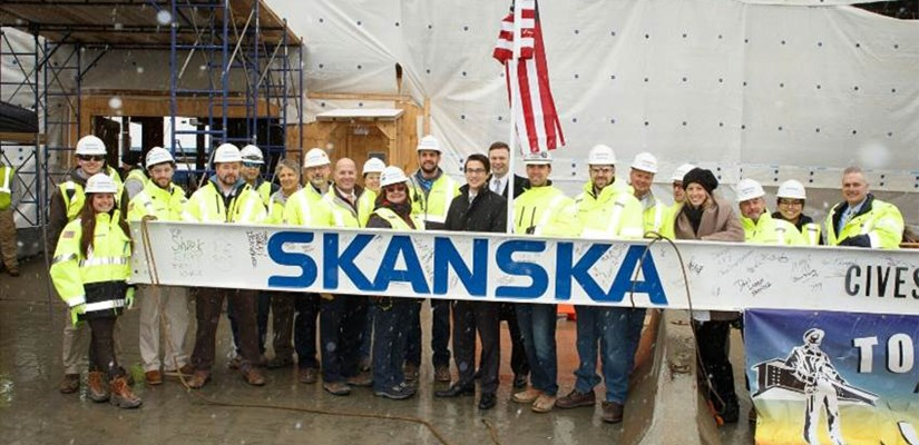 The Seaport team before the beam was placed