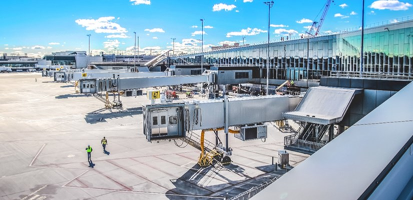View from the North leg of new airside space and Concourse B's passenger boarding bridges