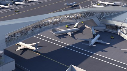 Pedestrian bridges will connect the Central Terminal with Concourses A and B, providing travelers a unique view of taxiing aircraft.